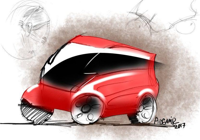 esboço sketch de um carro compacto urbano